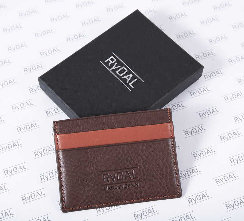 Maiano Mens Leather Card Holder in 'Dark Brown/Rust' with box. Italian Leather. RFID protection.