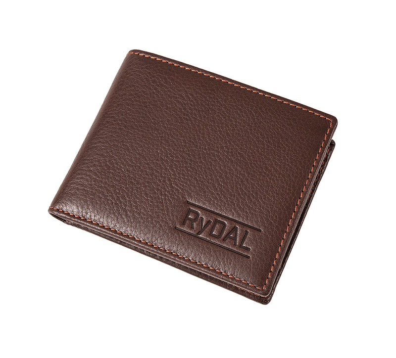 Solaia Mens Leather Wallet from Rydal in 'Dark Brown/Rust' showing wallet closed.