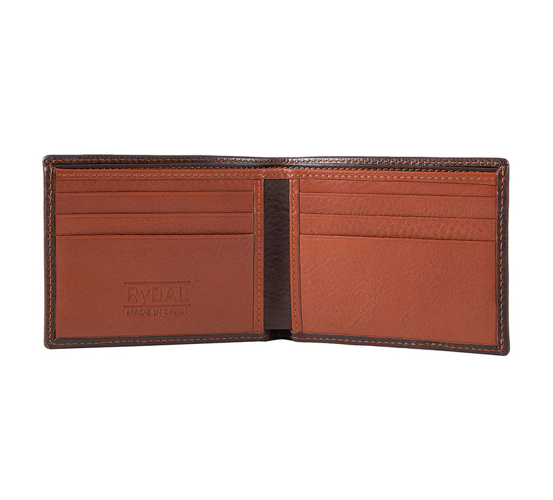 Solaia Mens Leather Wallet from Rydal in 'Dark Brown/Rust' showing interior.