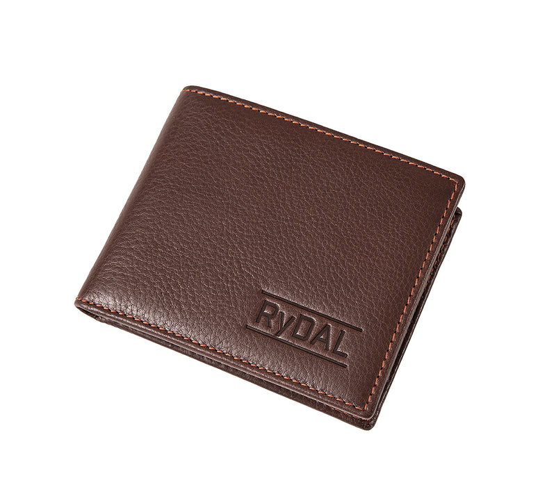 Solaia Mens Leather Wallet with Coin Pocket from Rydal in 'Dark Brown/Rust' showing wallet closed.