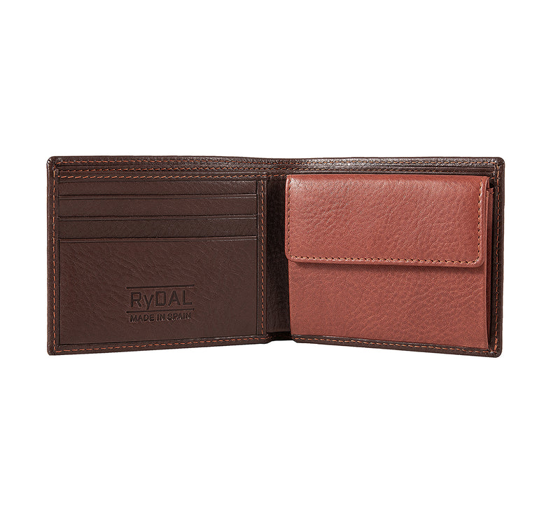Solaia Mens Leather Wallet with Coin Pocket from Rydal in 'Dark Brown/Rust' showing interior.