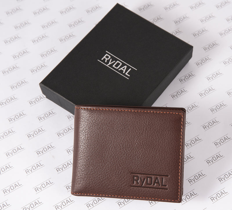 Solaia Mens Leather Wallet with Coin Pocket from Rydal in 'Dark Brown/Rust' with box.