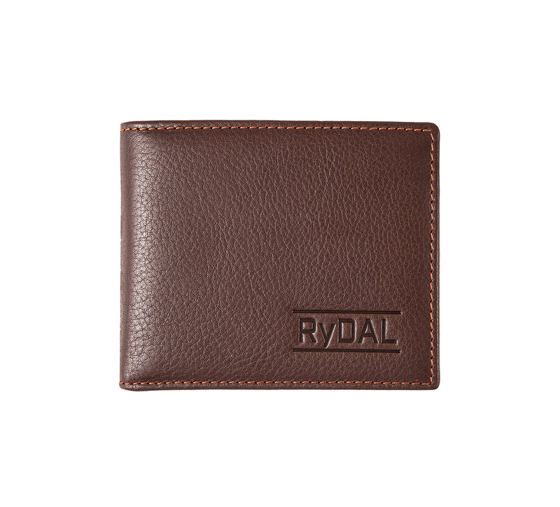 Solaia Mens Leather Wallet with Coin Pocket from Rydal in 'Dark Brown/Rust'.
