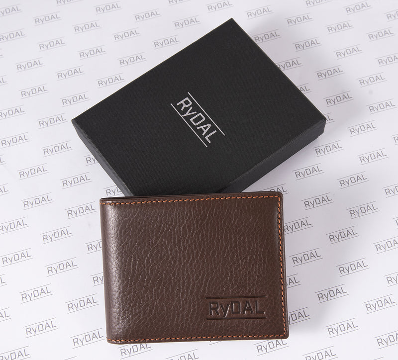 Solaia Mens Leather Wallet from Rydal in 'Dark Brown/Rust' with box.