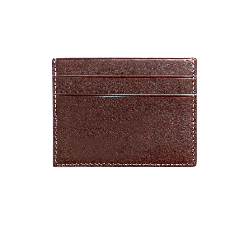 Maiano Mens Leather Card Holder in 'Dark Brown' showing reverse side. Italian Leather. RFID protection.