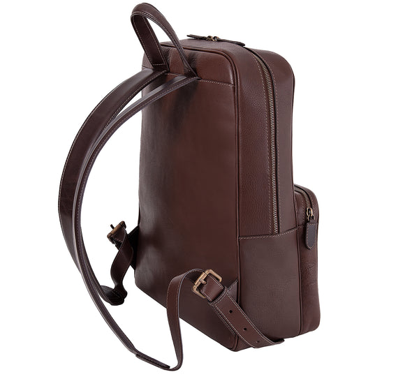 The Henley Mens Leather Backpack from Rydal in 'Dark Brown' showing shoulder straps.