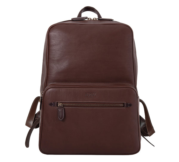 The Henley Mens Leather Backpack from Rydal in 'Dark Brown'.