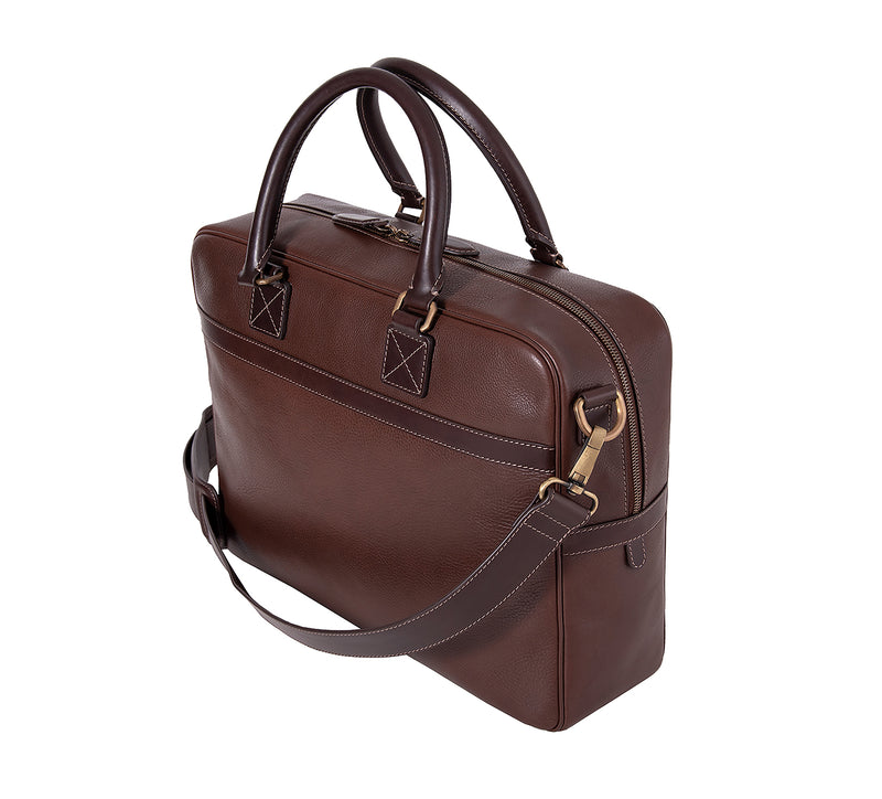 The Lexington Mens Leather Briefcase from Rydal in 'Dark Brown' showing rear.