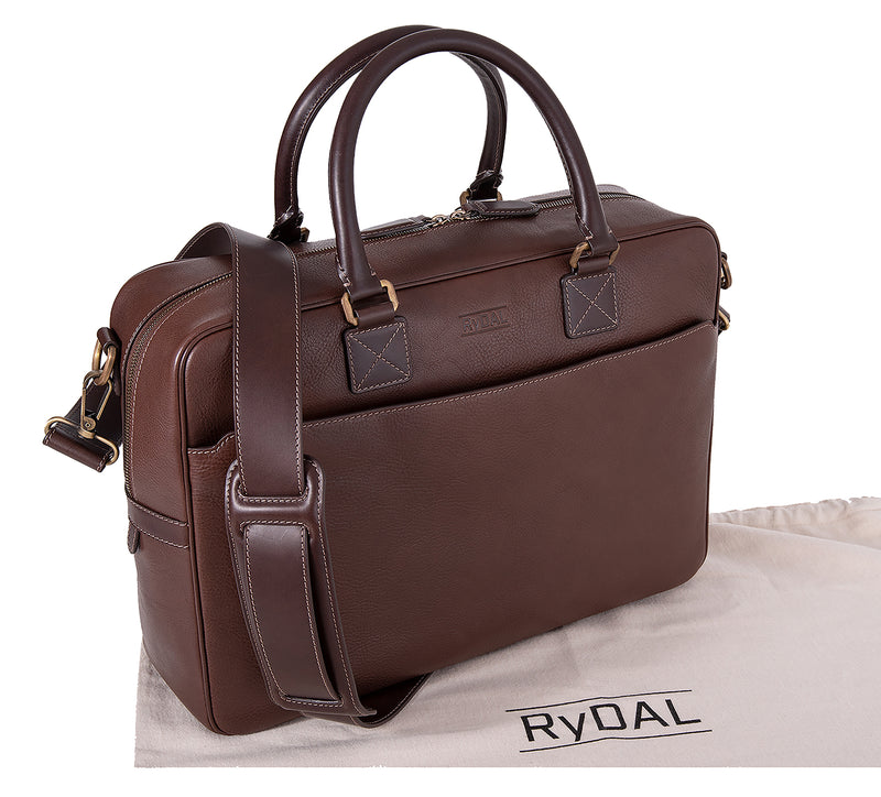 The Lexington Mens Leather Briefcase from Rydal in 'Dark Brown' with cotton bag.