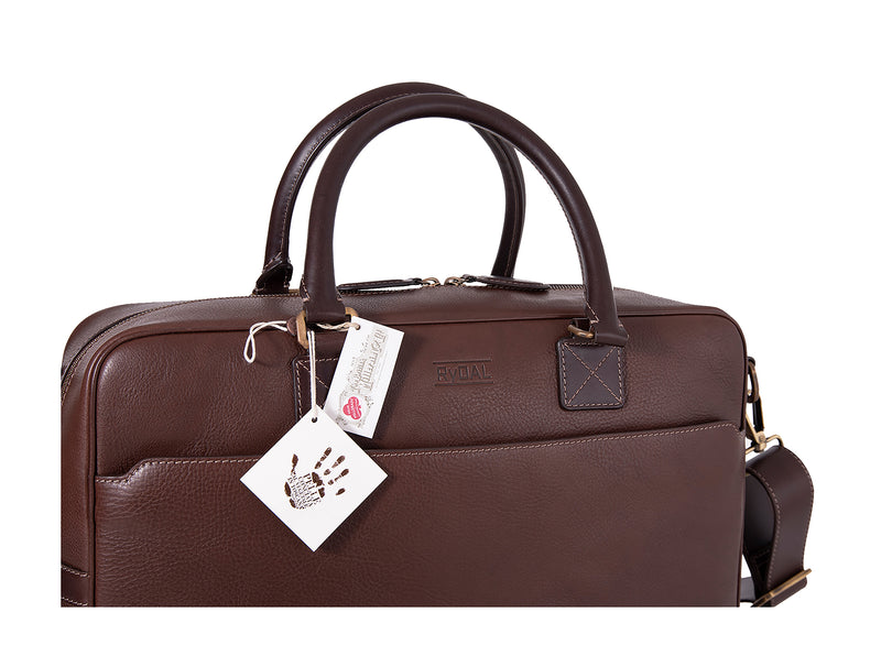 The Lexington Mens Leather Briefcase from Rydal in 'Dark Brown' with Guarantee Tags.