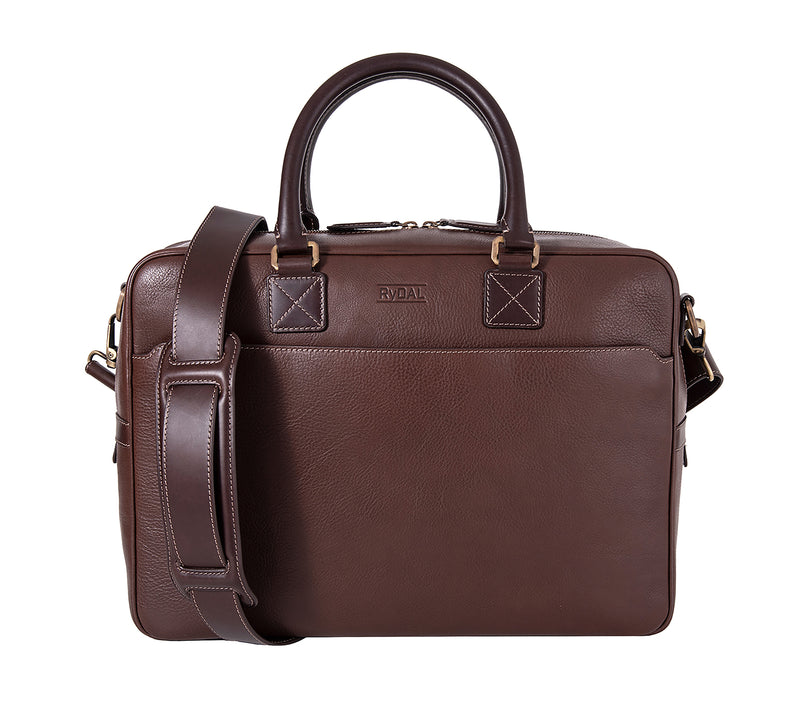 The Lexington Mens Leather Briefcase from Rydal in 'Dark Brown'.