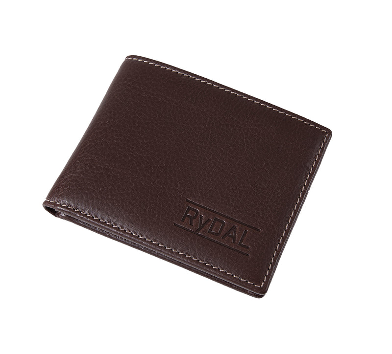 Solaia Mens Leather Wallet from Rydal in 'Dark Brown' showing wallet closed.