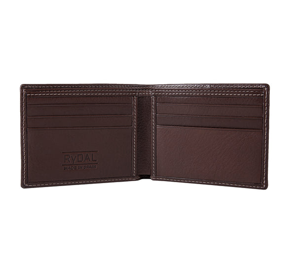 Solaia Mens Leather Wallet from Rydal in 'Dark Brown' showing interior.