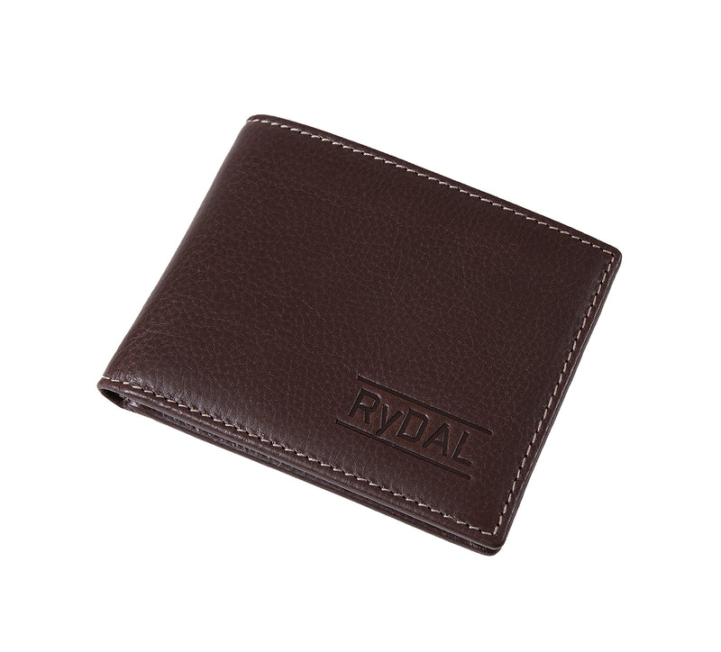 Solaia Mens Leather Wallet with Coin Pocket from Rydal in 'Dark Brown' showing wallet closed.