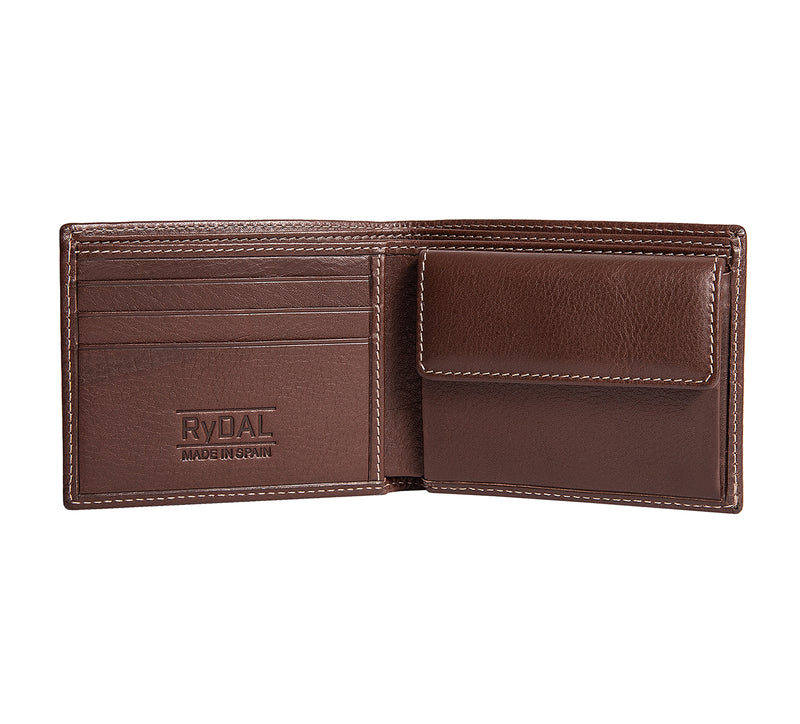 Solaia Mens Leather Wallet with Coin Pocket from Rydal in 'Dark Brown' showing interior.