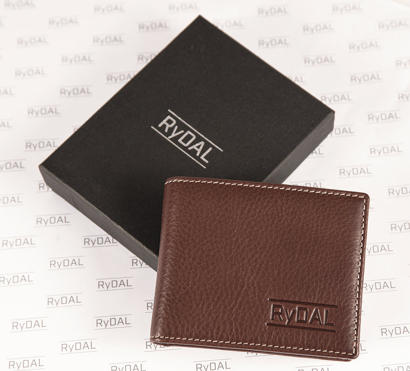 Solaia Mens Leather Wallet with Coin Pocket from Rydal in 'Dark Brown' with box.