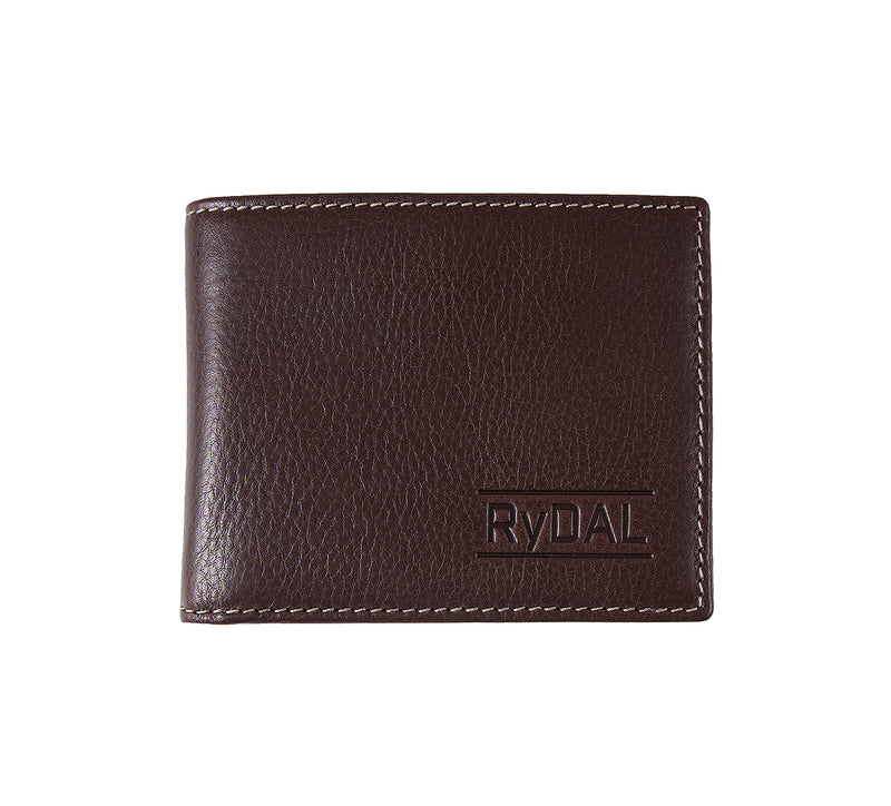 Solaia Mens Leather Wallet with Coin Pocket from Rydal in 'Dark Brown'.