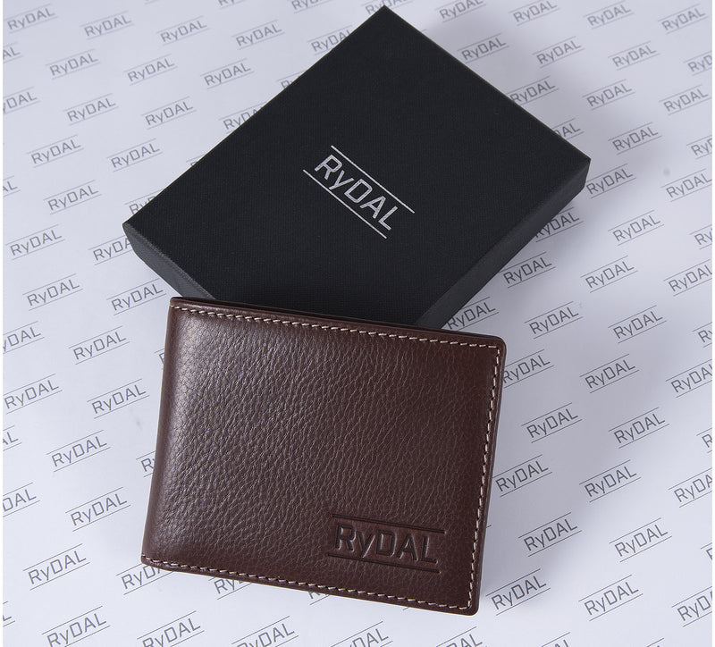 Solaia Mens Leather Wallet from Rydal in 'Dark Brown' with box.