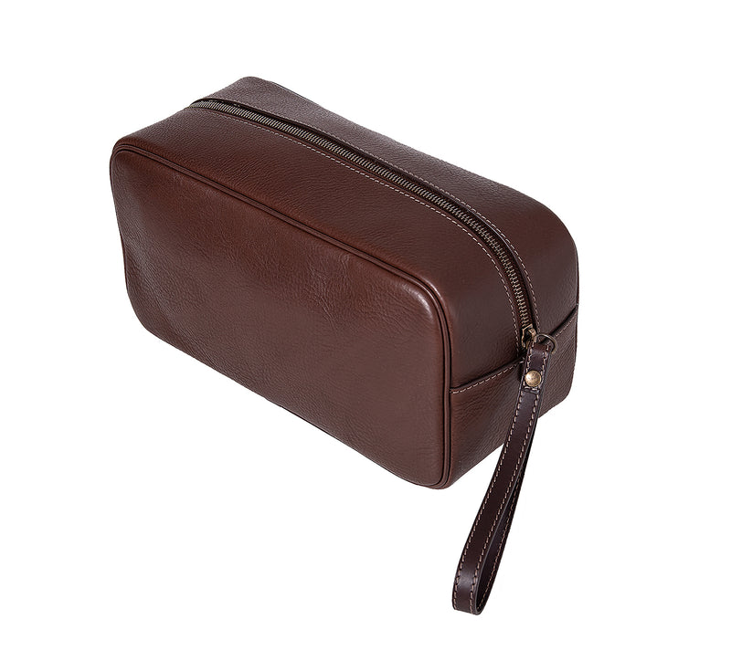 The Monterey Mens Leather Wash Bag from Rydal in 'Dark Brown' showing zip.