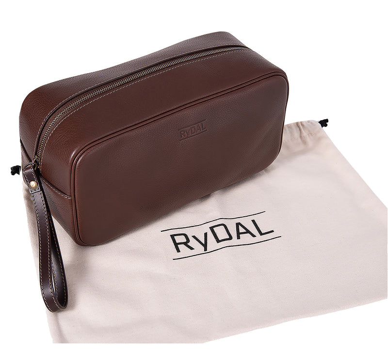 The Monterey Mens Leather Wash Bag from Rydal in 'Dark Brown' with cotton bag.