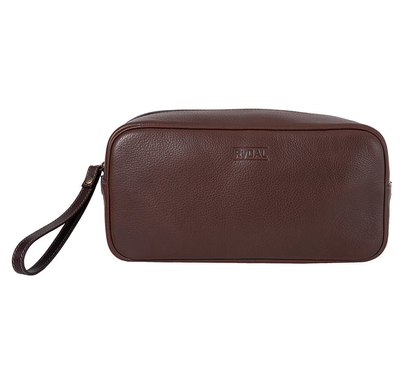 The Monterey Mens Leather Wash Bag from Rydal in 'Dark Brown'.