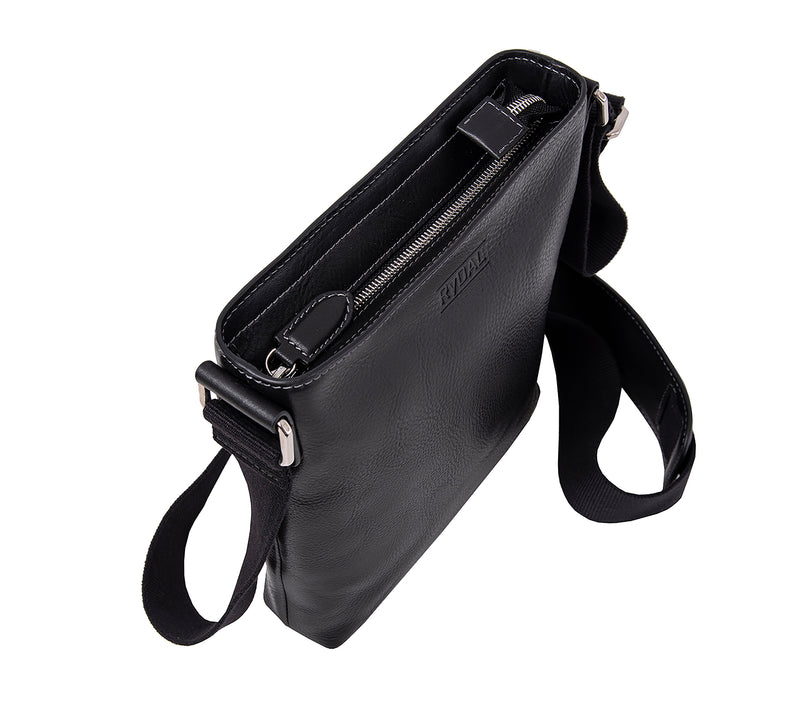 The Lucca Mens Leather Shoulder Bag from Rydal in 'Black' from above.