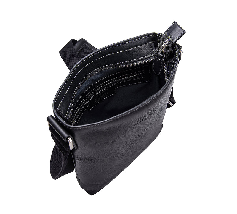 The Lucca Mens Leather Shoulder Bag from Rydal in 'Black' showing interior.