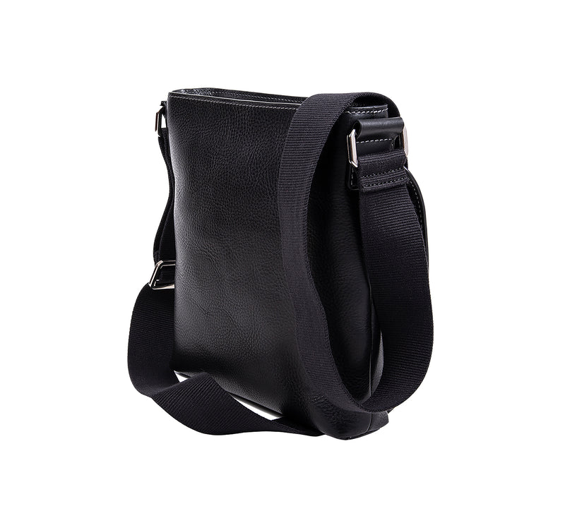The Lucca Mens Leather Shoulder Bag from Rydal in 'Black' showing rear.