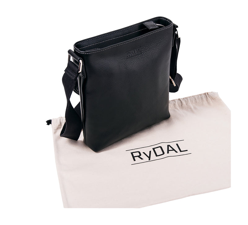 The Lucca Mens Leather Shoulder Bag from Rydal in 'Black' with cotton bag.