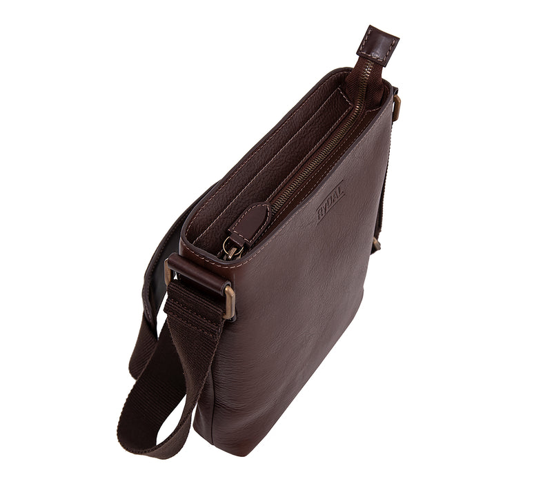 The Lucca Mens Leather Shoulder Bag from Rydal in 'Dark Brown' from above.