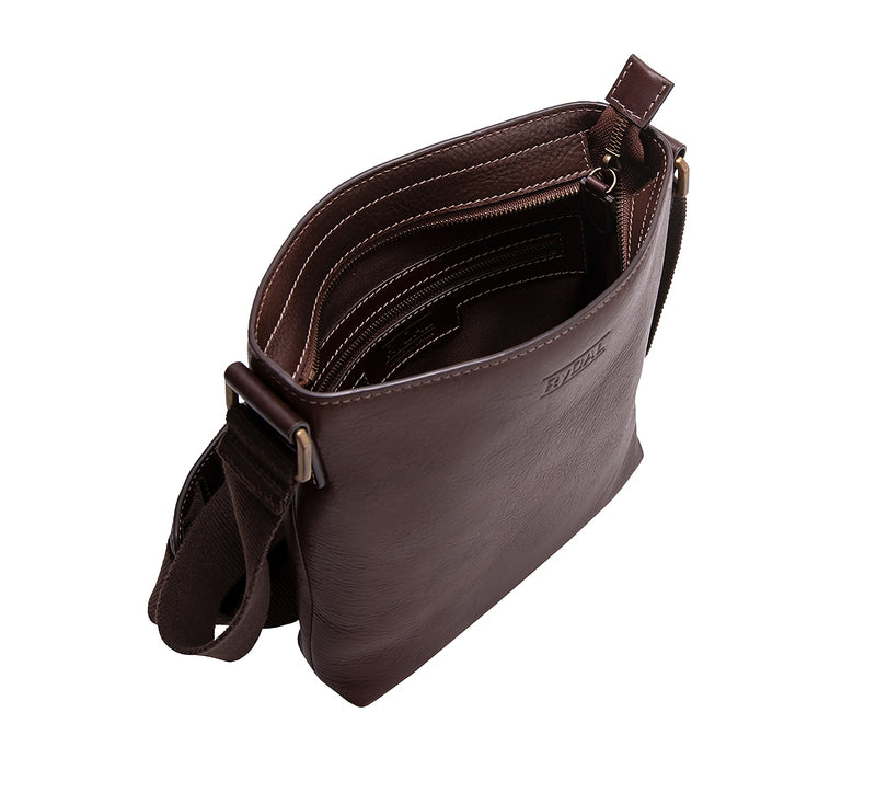The Lucca Mens Leather Shoulder Bag from Rydal in 'Dark Brown' showing interior.