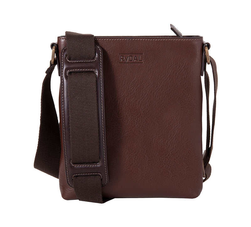 The Lucca Mens Leather Shoulder Bag from Rydal in 'Dark Brown'.