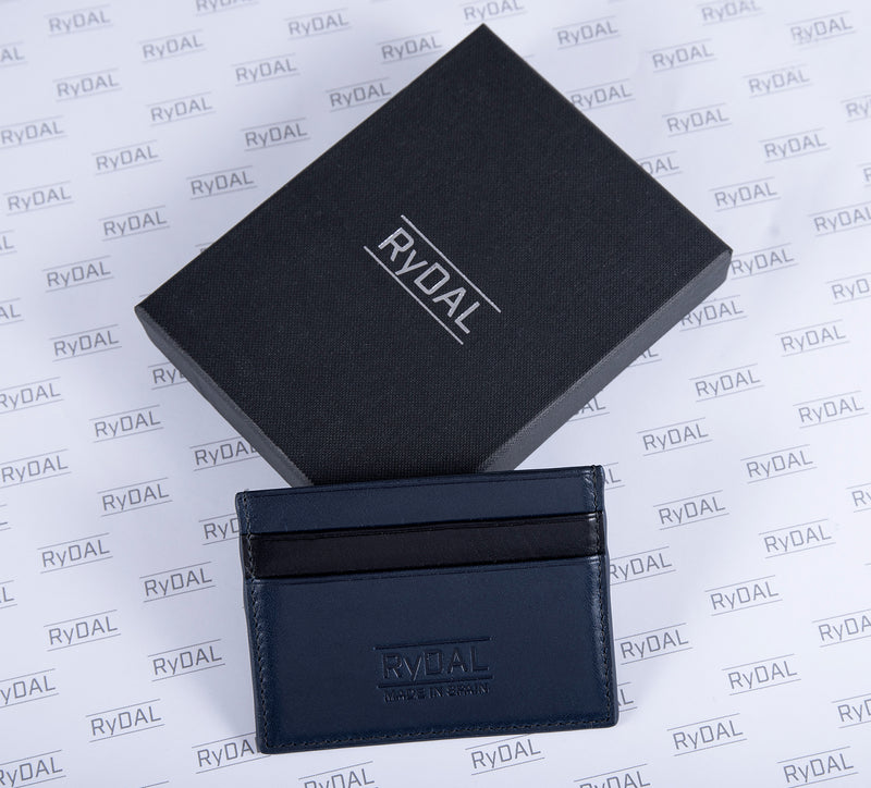 Maiano Mens Leather Card Holder in 'Royal Blue/Black' with box. Italian Leather. RFID protection.
