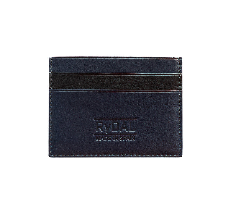 Maiano Mens Leather Card Holder in 'Royal Blue/Black'. Italian Leather. RFID protection.
