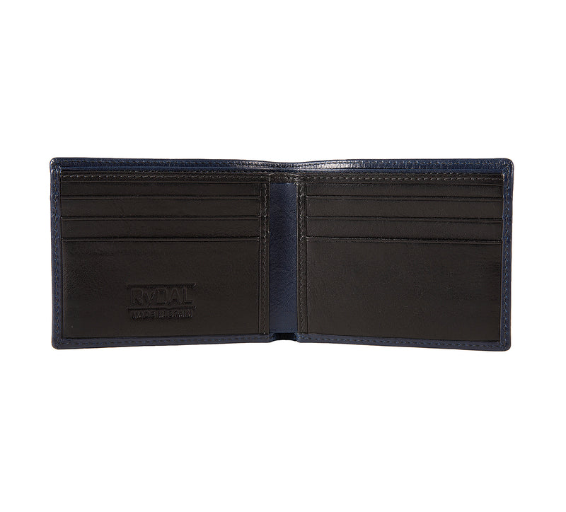 Solaia Mens Leather Wallet from Rydal in 'Royal Blue/Black' showing interior.