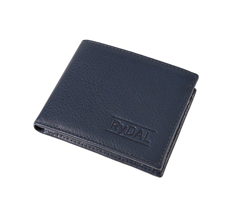 Solaia Mens Leather Wallet with Coin Pocket from Rydal in 'Royal Blue/Black' showing wallet closed.