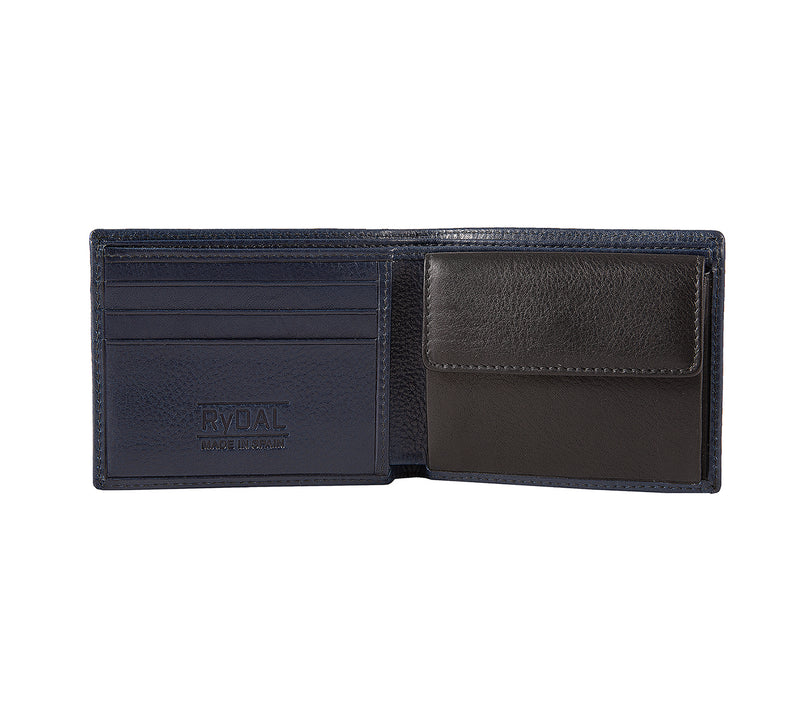 Solaia Mens Leather Wallet with Coin Pocket from Rydal in 'Royal Blue/Black' showing interior.