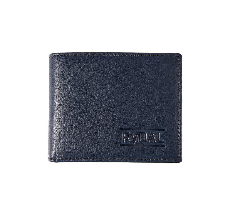 Solaia Mens Leather Wallet with Coin Pocket from Rydal in 'Royal Blue/Black'.