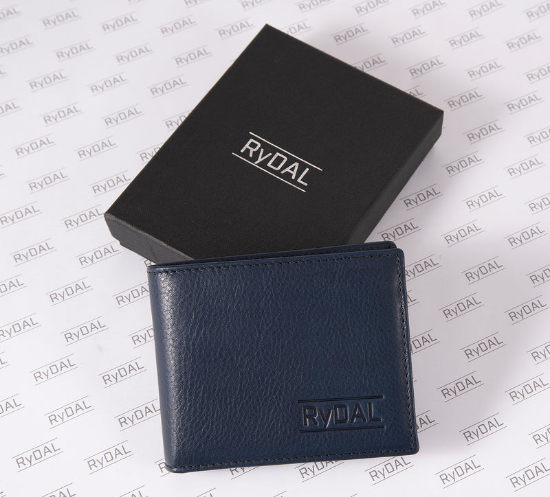 Solaia Mens Leather Wallet with Coin Pocket from Rydal in 'Royal Blue/Black' with box.
