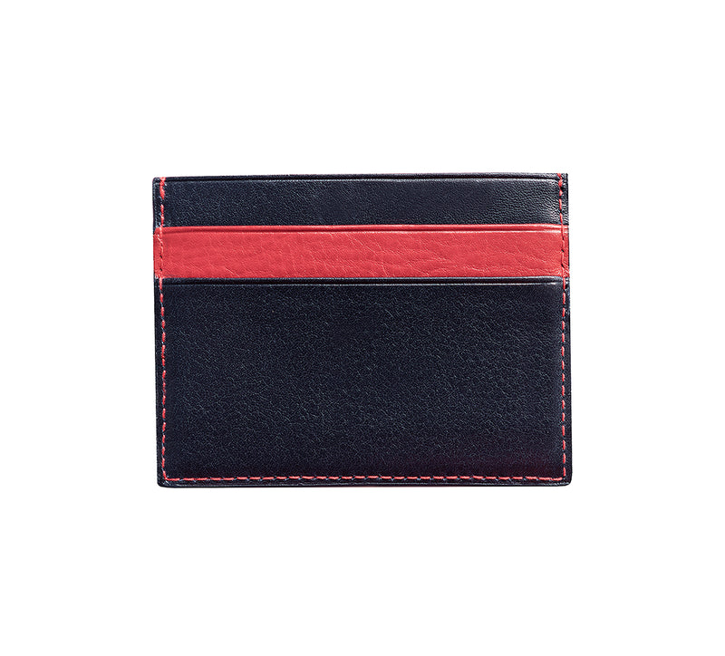 Maiano Mens Leather Card Holder in 'Royal Blue/Red' showing reverse side. Italian Leather. RFID protection.