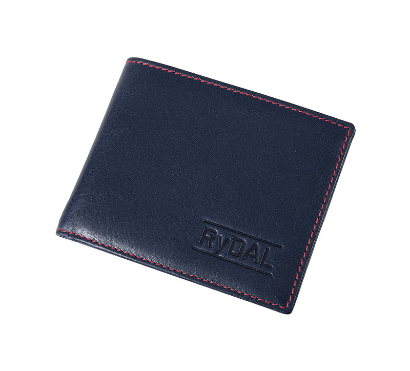 Solaia Mens Leather Wallet from Rydal in 'Royal Blue/Red' showing wallet closed.