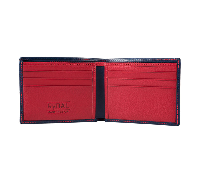 Solaia Mens Leather Wallet from Rydal in 'Royal Blue/Red' showing interior.
