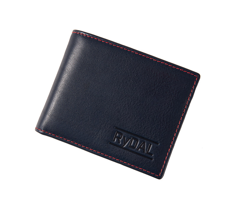 Solaia Mens Leather Wallet with Coin Pocket from Rydal in 'Royal Blue/Red' showing wallet closed.