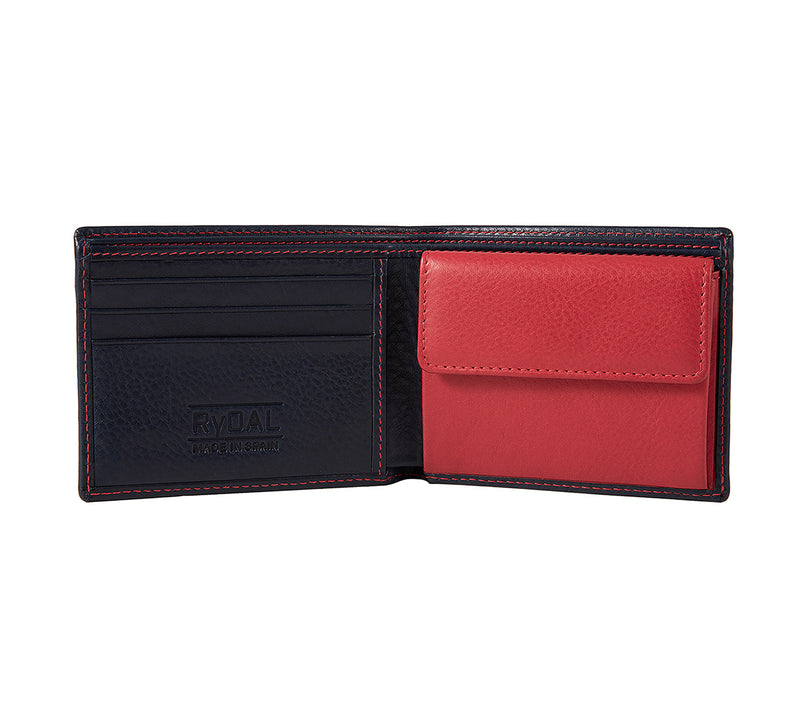 Solaia Mens Leather Wallet with Coin Pocket from Rydal in 'Royal Blue/Red' showing interior.