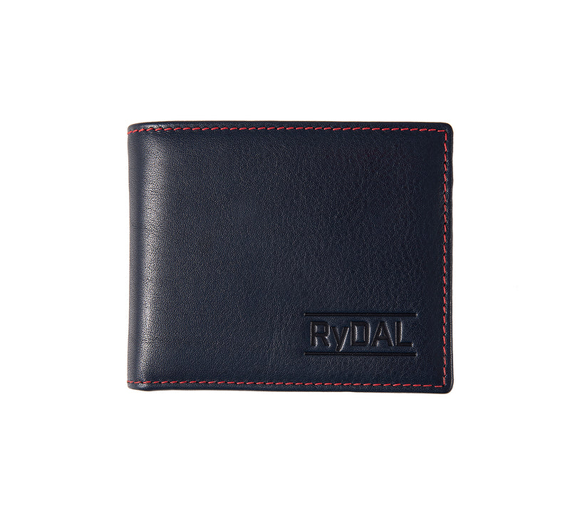 Solaia Mens Leather Wallet with Coin Pocket from Rydal in 'Royal Blue/Red'.