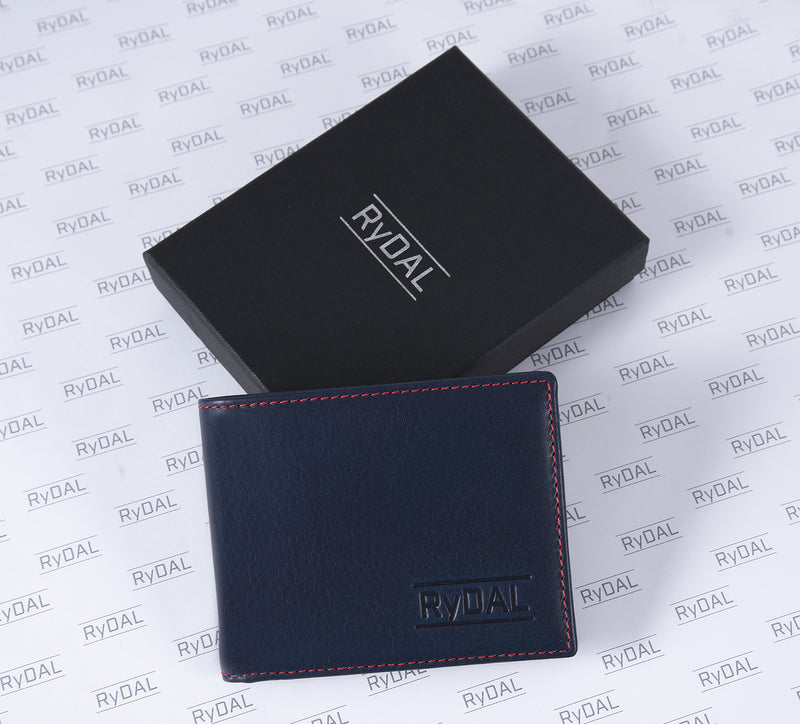 Solaia Mens Leather Wallet from Rydal in 'Royal Blue/Red' with box.