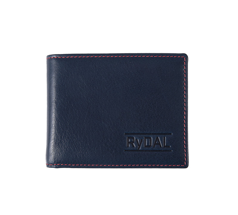 Solaia Mens Leather Wallet from Rydal in 'Royal Blue/Red'.