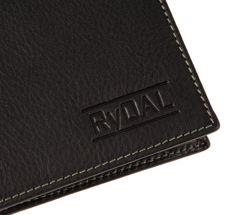 Solaia Mens Leather Wallet from Rydal in 'Black/Green' showing close up of logo.