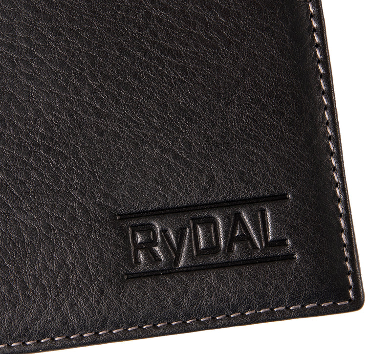 Solaia Mens Leather Wallet with Coin Pocket from Rydal in 'Black/Grey' showing close up of logo.