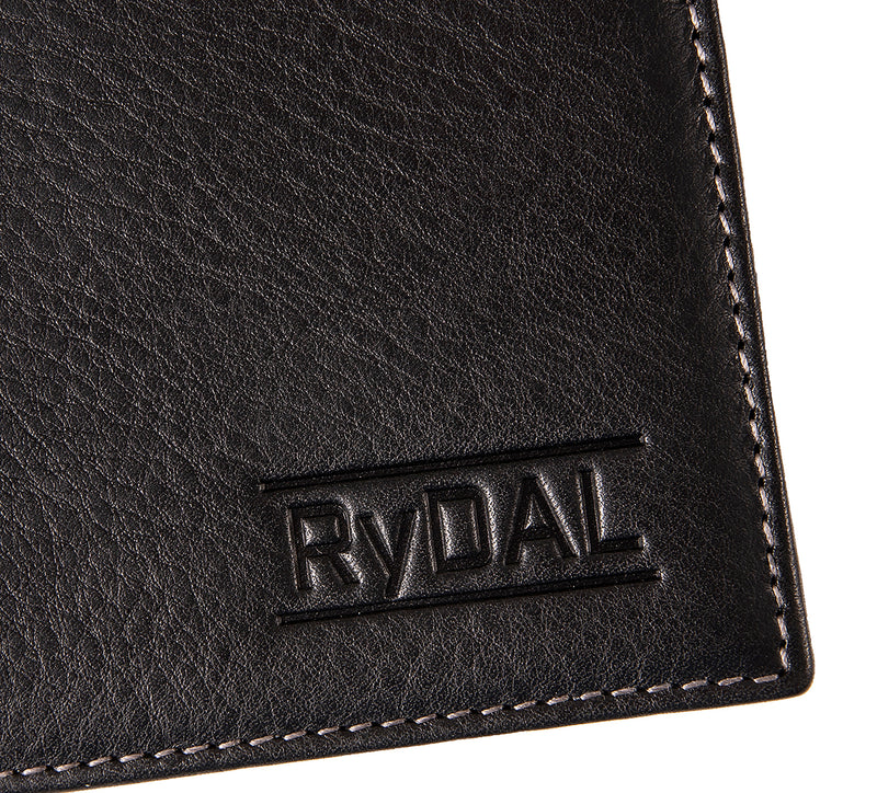 Solaia Mens Leather Wallet from Rydal in 'Black/Grey' showing close up of logo.